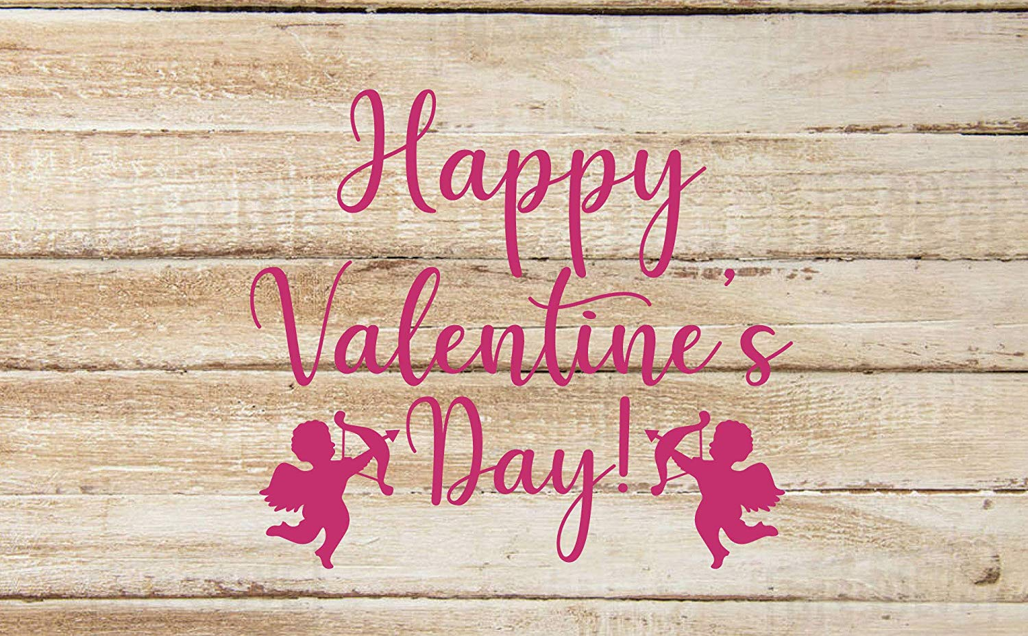 Pink Happy Valentine's Day Cupids Lettering Vinyl Wall Decor